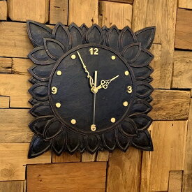 アジアン バリ 雑貨 ♪アウラ彫刻壁掛け時計♪ おしゃれ インテリア エスニック ウォールクロック 壁飾り 角型