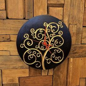 アジアン バリ 雑貨 ♪ジャワツリー壁掛け時計(ブラウン)♪ おしゃれ インテリア エスニック ウォールクロック 壁飾り 丸型
