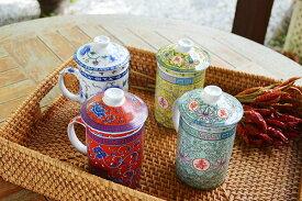 アジアン バリ 雑貨 ♪茶こし付きマグカップ(黄・緑・青・赤)♪ ティーポット 茶器 中国 台湾 おしゃれ キッチン雑貨 キッチン小物