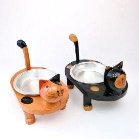 アジアン バリ 雑貨 ♪ネコのフードコンテナ(黒・三毛)♪ インテリア おしゃれ エスニック エサ台 給餌器 ペット用品