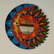 アジアンバリ雑貨♪モザイクガラスの壁掛けミラー(月と太陽40)♪インテリアおしゃれエスニック鏡ウォールミラー丸壁飾り