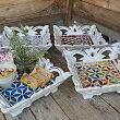 アジアンバリ雑貨♪バリ島の彫刻トレイ(スクエアモザイクガラス)♪インテリアおしゃれエスニックインテリアトレイ小物入れ