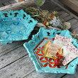 アジアンバリ雑貨♪バリ島の彫刻トレイ(ヘキサゴンモザイクガラス)♪インテリアおしゃれエスニックインテリアトレイ小物入れ