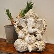 アジアンバリ雑貨♪ガネーシャ像(アンティークホワイト30)♪インテリアおしゃれエスニック置き物オブジェ神仏縁起物金運