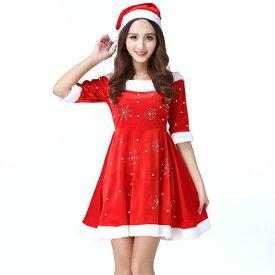 1573b15571bc8 サンタ コスプレ クリスマス 衣装 レディース コスチューム 帽子 仮装 ワンピース 赤 サンタさん サンタコス サンタコスプレ サンタクロース
