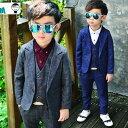 【翌日発送】【送料無料】韓国風子供服 キッズ子供スーツ 男児タキシード 3点セット お祝い男の子 子供服  フォー…
