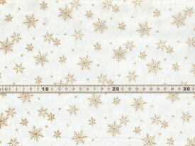 【送料無料】綿100% 生地 クリスマス柄 スノーフレイク 雪の結晶 オフホワイトxゴールドラメプリント シーチング