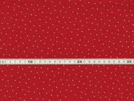 【送料無料】綿100% 生地 クリスマス柄 星 ドット レッドxゴールドラメプリント シーチング