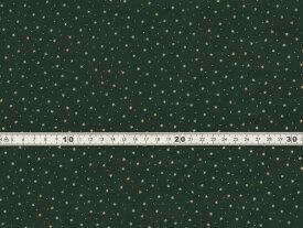 【送料無料】綿100% 生地 クリスマス柄 星 ドット グリーンxゴールドラメプリント シーチング