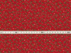 【送料無料】綿100% 生地 クリスマス柄 ひいらぎプリント レッド シーチング