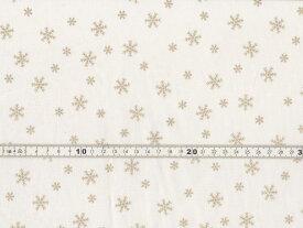 【送料無料】クリスマス生地 ラメ 雪の結晶 スノーフレークプリント オフホワイト シーチング生地 h7021-2a