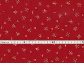 【送料無料】クリスマス生地 ラメ 雪の結晶 スノーフレークプリント レッド シーチング生地 h7021-2b