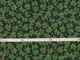 【送料無料】クリスマス生地 ヒイラギ プリント グリーン シーチング生地 h7021-5c