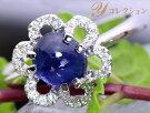 カボッションカットの群青色上質サファイヤ1.49ct・ダイヤモンド0.19ctフラワーデザインのK18WGリング1点もの/Ycollectionワイコレクション/送料無料