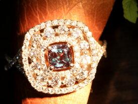 アレキサンドライト0.62ct ダイヤモンド0.90ct 個性的デザイン PT900リング 指輪 見事なカラーチェンジ 透明度大 1点もの/Ycollectionワイコレクション/送料無料