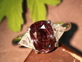 アレキサンドライト4.79ct 大粒 見事なカラーチェンジと抜群の透明度 トリリアントカットのダイヤモンドがペアで煌めく PT900 プラチナ900リング/指輪 絶品 一生もの 1点もの/Ycollectionワイコレクション/送料無料