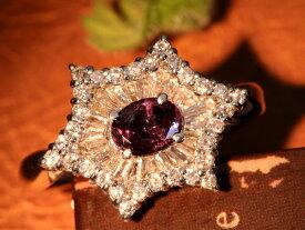 アレキサンドライト 0.61ct 花火のように広がる豪華ダイヤモンド0.72ct 見事なカラーチェンジ PT900 プラチナ900リング/指輪 1点もの/Ycollectionワイコレクション/送料無料