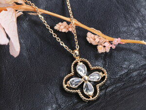 【20%OFFクーポン対象】【ローズカットダイヤ】ダイヤモンド0.27ct前後 ローズカットのペアシェイプダイヤモンド4石で描くクローバーデザイン K18PGピンクゴールドペンダントネックレス 受
