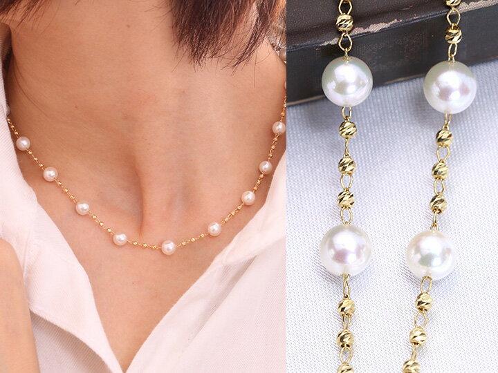 5.5mm真珠とゴールドがつむぎだすステーションK18ネックレス 日常使いにも 受注品/Ycollectionワイコレクション/送料無料
