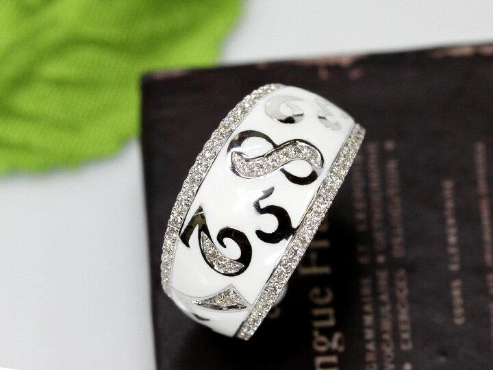 【エナメルナンバー】白(黒)エナメルに弾むナンバー(数字)・ダイヤモンド0.35ct K18WGリング 指輪(各地金素材対応可能)受注品/Ycollectionワイコレクション/送料無料