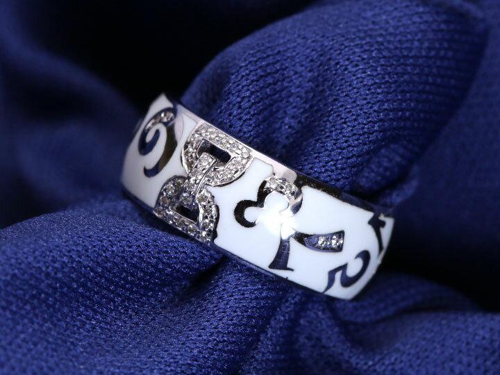 【エナメルナンバー】白(黒)エナメルに弾むナンバー(数字)・ダイヤモンド012ct K18(WG・PG)リング 指輪(各地金素材対応可能)受注品/Ycollectionワイコレクション/送料無料