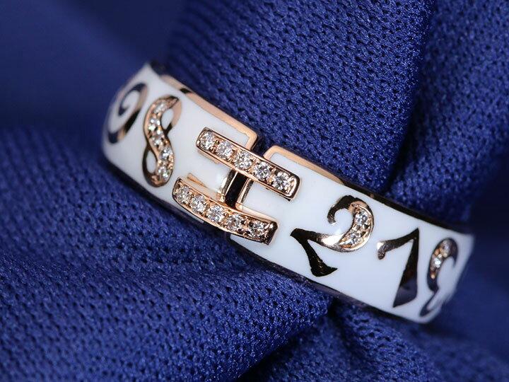 【エナメルナンバー】白(黒)エナメルに弾むナンバー(数字)・中央に2列並ぶライン・ダイヤモンド0.07ct ・細幅タイプ K18(WG・PG)リング 指輪(各地金素材対応可)受注品/