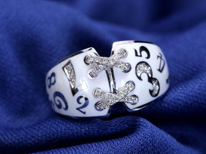 【エナメルナンバー】白(黒)エナメルに弾むナンバー(数字)・ラインのクロスがポイント!ダイヤモンド0.15ct 幅広目 K18(WG・PG)リング 指輪(各地金素材対応可)受注品/