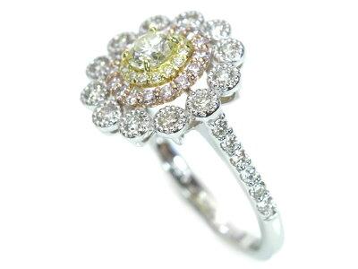 ほんのりイエローカラーダイヤモンド0.268ctLSI1GOOD・ピンクダイヤモンド取り巻き・華やかな大振りデザインPT900/K18YG/K18PGリング指輪1点ものソーティング付/Ycollectionワイコレクション/送料無料