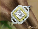 VSレベルの角ダイヤ&イエローダイヤモンド0.59ct眩しいほどの煌めきK18WGリング指輪ママにオススメ日常使いリング受注品/Ycollectionワイコレクション/送料無料