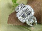 1カラットダイヤモンド尽くしのK18WGホワイトゴールドリング指輪1.00ct角ダイヤモンドの迫力満点(各地金素材対応可能)ママにオススメ日常使いリング受注品/Ycollectionワイコレクション/送料無料