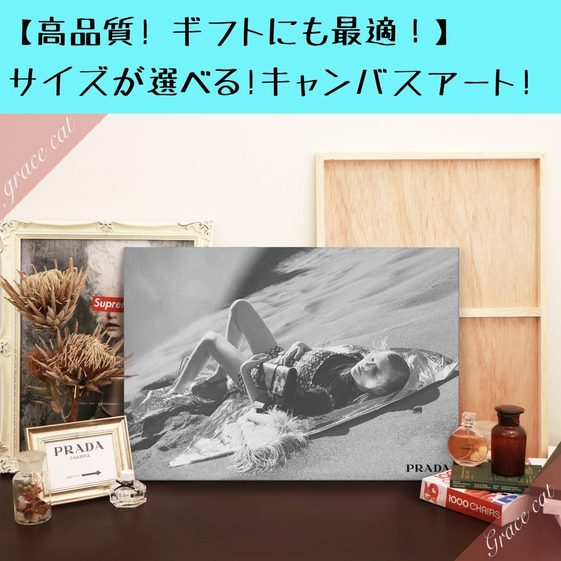 【 Grace cat Art 】サイズが選べるキャンバスパネル アート 絵画 / アートパネル / アートポスター / グラフィック アート / インテリア アート / パロディアート / ギフト 【 オマージュモチーフ:PRADA / プラダ 】