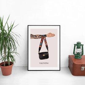 【 選べる200デザイン!! 送料無料 】【 Grace cat Art 】サイズが選べるアートポスター + アルミスキニーフレーム額装セット / アート / キャンバス アート / グラフィック アート / インテリア/ ギフト 【 オマージュモチーフ:VALENTINO/ヴァレンティノ】