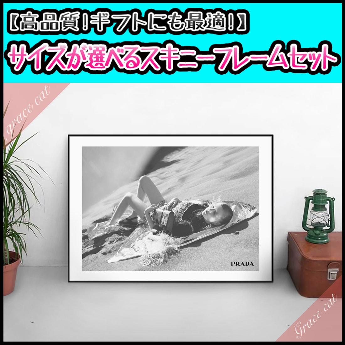 【 Grace cat Art 】サイズが選べるアートポスター + アルミスキニーフレーム額装セット / アート / キャンバス アート / グラフィック アート / インテリア アート / パロディアート / ギフト 【 オマージュモチーフ:PRADA / プラダ 】
