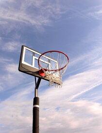 レイアップの練習もOK 透明ポリカーボネート、ポールパッド付、オレンジリング、極太ネット BG-270BK-PD バスケットゴール 屋外 家庭用 バスケットボール ゴール バックボード リング プレゼント