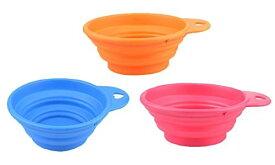 petlife(ペットライフ) ぺたんこボウル カラビナ付き 外出、散歩 ペット用折りたたみ式食器皿 「901-0006」 (ブルー)