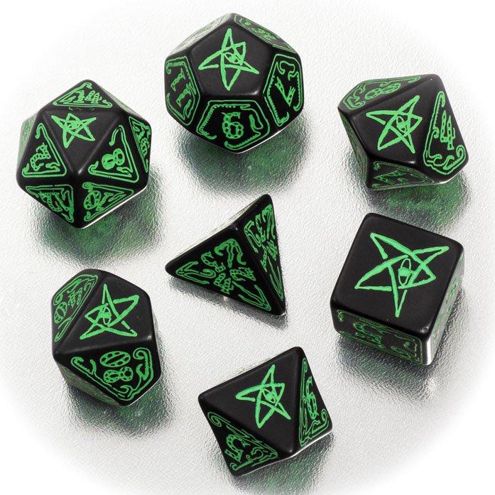 クトゥルフダイス 7個セット 黒地緑字