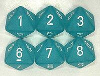 フロストダイス 8面ダイス 薄青緑地白字