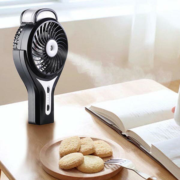 Yescom usb扇風機 加湿 噴霧 usb ファン 手持ち 小型 扇風機 卓上扇風機 静音 携帯型 水 調節 ハンディー usb扇風機 小型扇風機 ミスト 涼しい 夏対策 オフィス 外出 持ちやすい usbファン ブラック