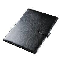 Yescom高級PUレザー会議パッドバインダーケースデスクパッド署名フォルダA4書類フォルダー契約書サイン専用オフィス用ブラック