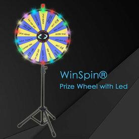 WinSpin ルーレット おしゃれ LEDライト付き 決定ルーレット 罰ゲームルーレット 幸運ホイール抽選 LUCKY WHEEL 高さ調節可能 24インチ