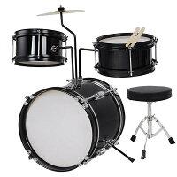 Yescomキッズドラムセット子供向けドラムバスドラムスネアドラムタムタムシンバルドラムスツールチューニングキーバスドラムペダルドラムスティックスタンド付ブラック