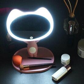 Yescom 化粧鏡 猫 ねこ 化粧 鏡 ライト 女優ミラー ライト付き 卓上 led化粧鏡 メイクミラー ledライト付き ミラー 卓上鏡 化粧ミラー USB充電 タッチセンサー 90度 角度調整可能 収納トレー付 ピンク