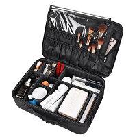 Yescom高品質多機能多容量メイクボックスプロ携帯用化粧箱メイクブラシバッグメイクケース化粧ボックス化粧道具小物入れ旅行ボックス40×12×28cmブラック
