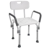 Yescom手すり付お風呂椅子5段階高さ調節シャワーチェア介護用入浴椅子お年寄りに安心安全背もたれ・肘掛け付きホワイト