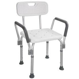 Yescom 手すり付お風呂椅子 5段階高さ調節 シャワーチェア 介護用 入浴椅子 お年寄りに安心 安全 背もたれ 肘掛け付き ホワイト