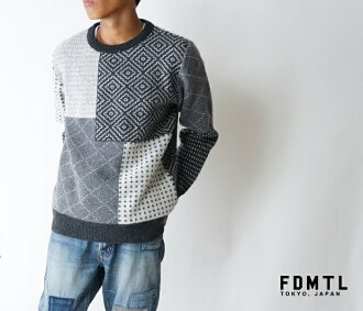 Product made in fa17nt31a SASHIKO WOOL SWEATER MULTI quilting crew neck sweater multi-Japan