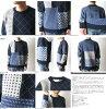 nt11ml SASHIKO CREW NECK SWEATER MULTI undyed pattern crewneck sweater multi