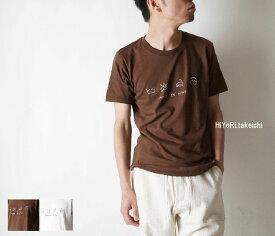 【HiYoRi.takeichi】15014 Laundry Symbol 手描き 5oz半袖Tシャツ 阿波友禅作家