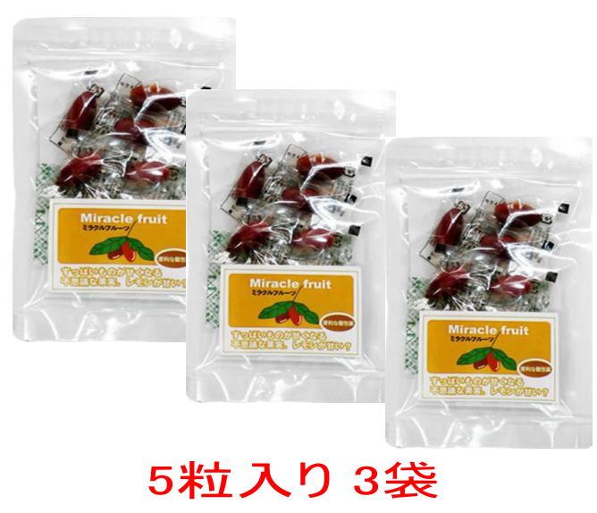 ミラクルフルーツ5粒入り3袋セット ネコポス(メール便速達) 送料無料【RCP】【HLS_DU】