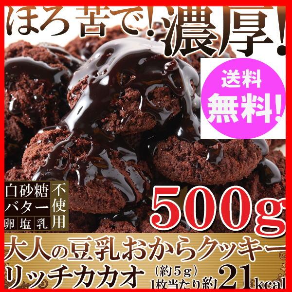 【ポイント10倍中】おからクッキー リッチカカオ500g カカオ分22%配合でほろ苦い!大人の豆乳おからクッキー【送料無料】